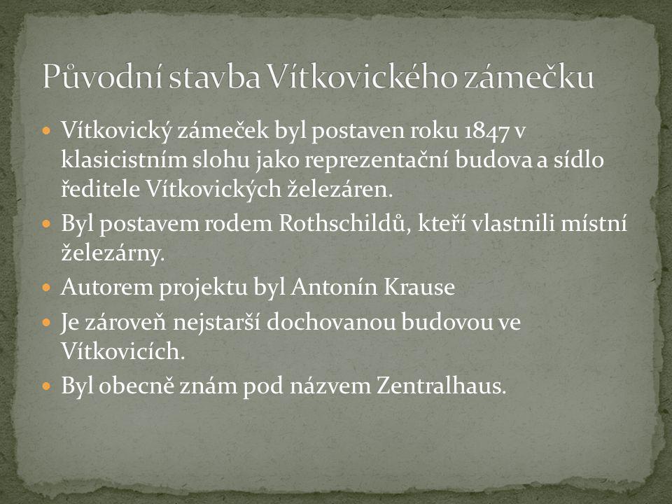 Vítkovický zámeček byl postaven roku 1847 v klasicistním slohu jako reprezentační budova a sídlo ředitele Vítkovických železáren. Byl postavem rodem R
