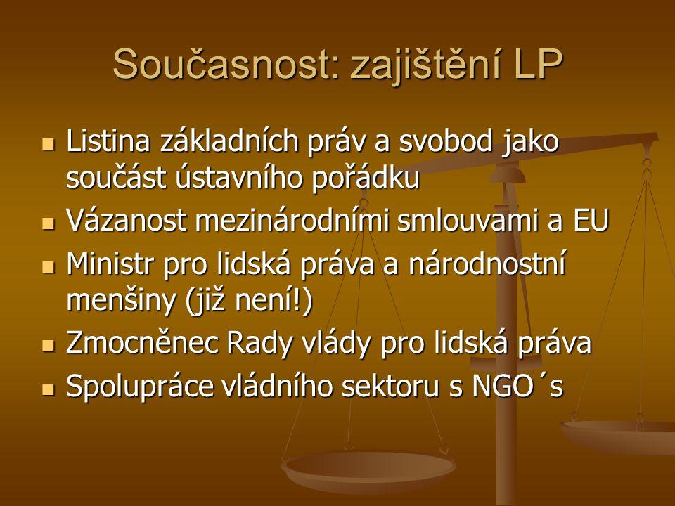 Současnost: zajištění LP Listina základních práv a svobod jako součást ústavního pořádku Listina základních práv a svobod jako součást ústavního pořád