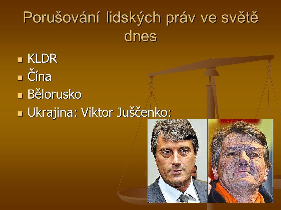 Porušování lidských práv ve světě dnes KLDR KLDR Čína Čína Bělorusko Bělorusko Ukrajina: Viktor Juščenko: Ukrajina: Viktor Juščenko: