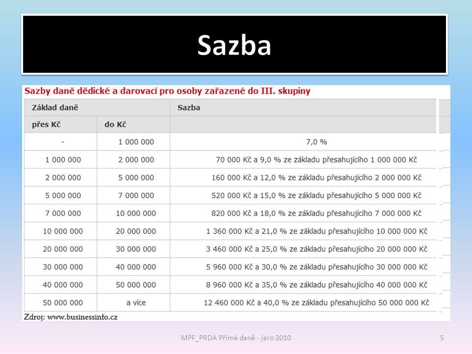 Sazba daně MPF_PRDA Přímé daně - jaro 20105