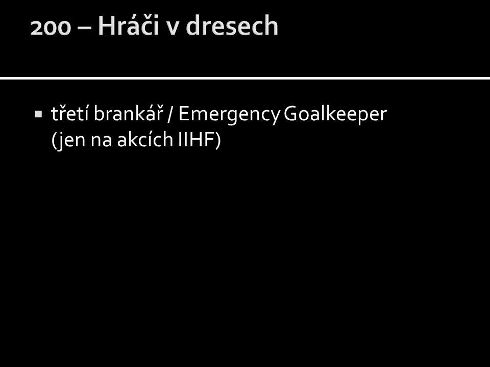  třetí brankář / Emergency Goalkeeper (jen na akcích IIHF)