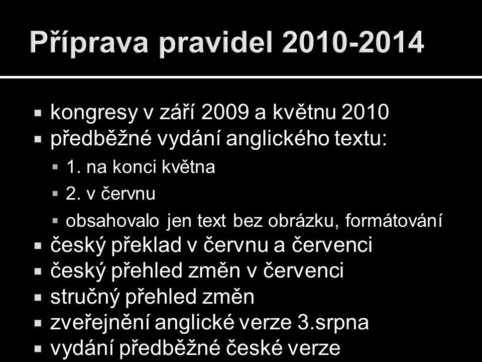  kongresy v září 2009 a květnu 2010  předběžné vydání anglického textu:  1. na konci května  2. v červnu  obsahovalo jen text bez obrázku, formát