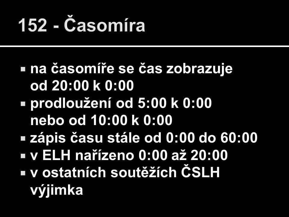  na časomíře se čas zobrazuje od 20:00 k 0:00  prodloužení od 5:00 k 0:00 nebo od 10:00 k 0:00  zápis času stále od 0:00 do 60:00  v ELH nařízeno