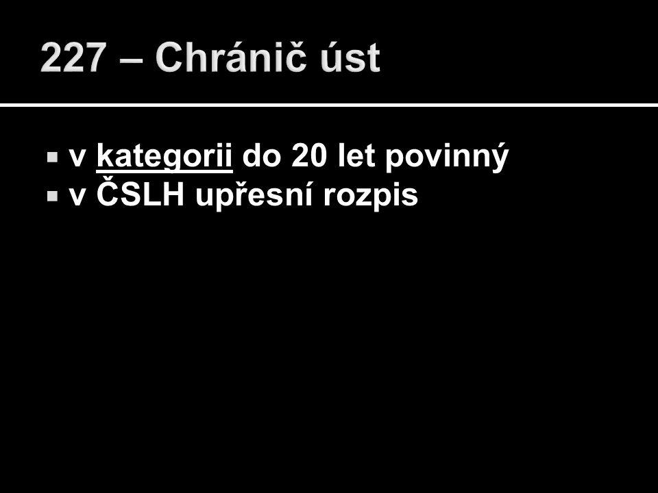  v kategorii do 20 let povinný  v ČSLH upřesní rozpis