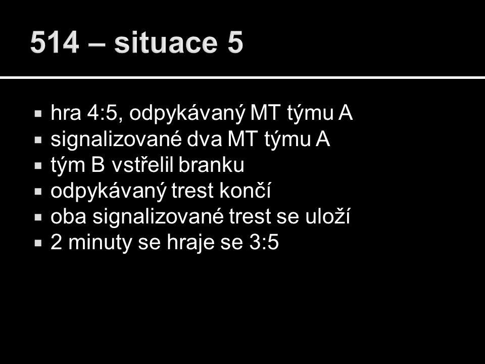  hra 4:5, odpykávaný MT týmu A  signalizované dva MT týmu A  tým B vstřelil branku  odpykávaný trest končí  oba signalizované trest se uloží  2