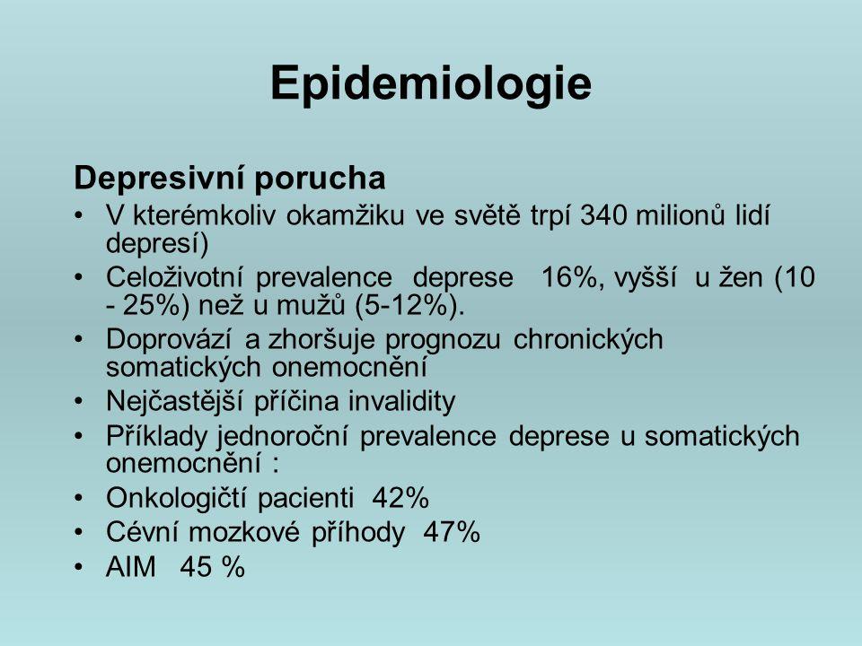 Etiopatogeneza Genetické faktory výraznější u bipolární poruchy (maniodepresivní psychózy dle starší klasifikace) genetická komponenta významná - studie rodinné, adopční, dvojčecí studie Psychosociální faktory životní události hrají roli hlavně v iniciální fázi onemocnění, při opakovaných epizodách nebývá jejich podíl tak zřejmý.