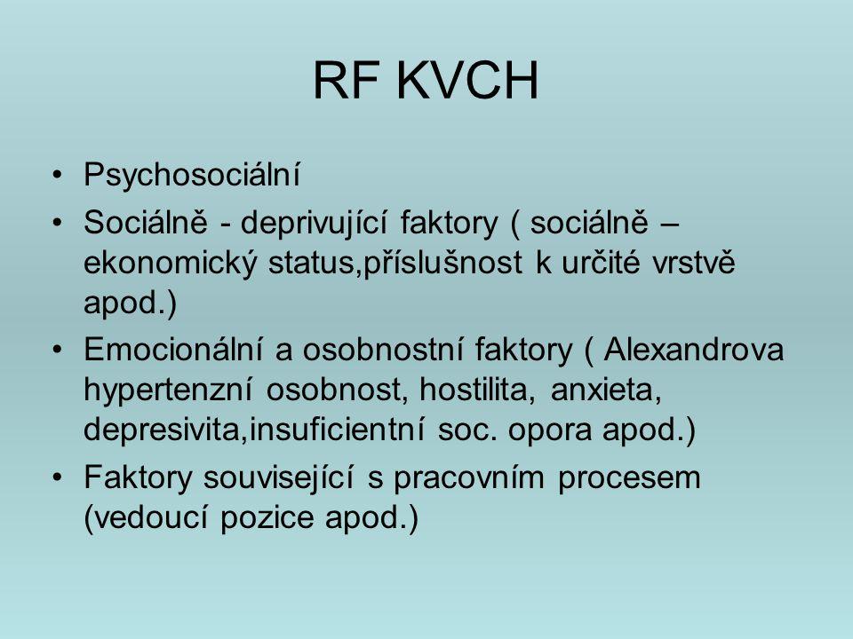 Rizikové typy osobnosti KVCH Friedman a Rosenman přišli v 70.letech se studií, která prokázala vliv určitého stylu chování na vznik typického onemocnění pro daný typ osobnosti.