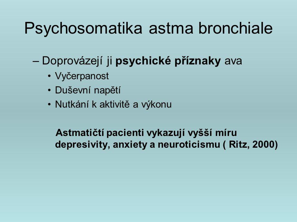 Psychosomatika astma bronchiale Recentní studie : Vliv dominantního nebo nadměrně protektivního chování rodičů Vliv zanedbávání psychosomatické výchovy dítěte Korelace mezi stupněm emocionálního vyjadřování dítěte a snahou tyto projevy tlumit ( Wood, Faleide,1997) Nedostatek mateřského chování, deprivace matky( Garner, Wenar, 1959, Block, 1966) Sociální aktivity v rodině astmatika ( Wikram, 1978)