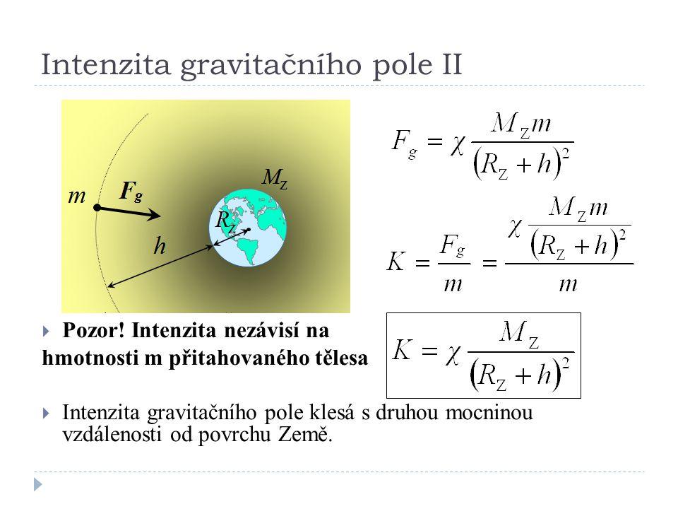 Intenzita gravitačního pole II  Pozor! Intenzita nezávisí na hmotnosti m přitahovaného tělesa  Intenzita gravitačního pole klesá s druhou mocninou v