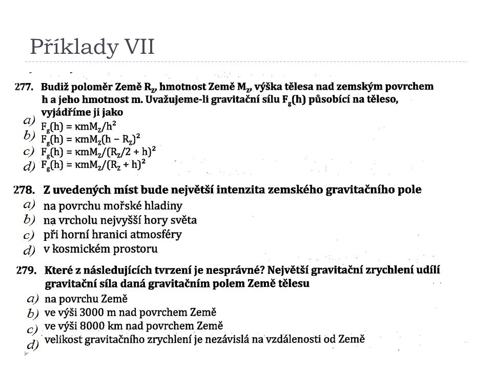 Příklady VII