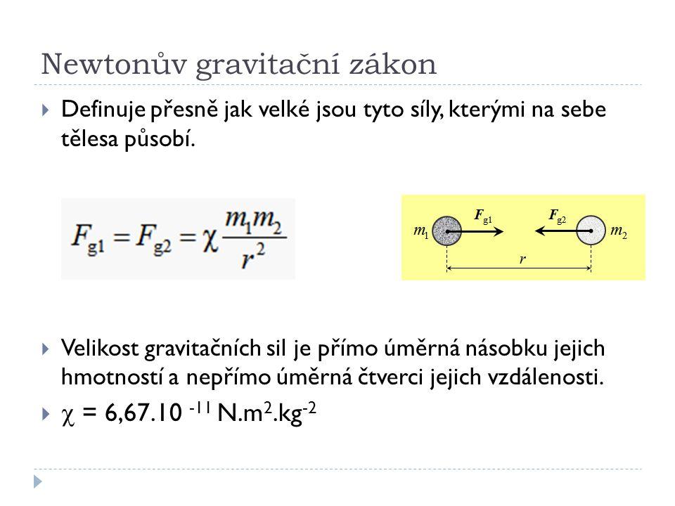 Newtonův gravitační zákon  Definuje přesně jak velké jsou tyto síly, kterými na sebe tělesa působí.  Velikost gravitačních sil je přímo úměrná násob