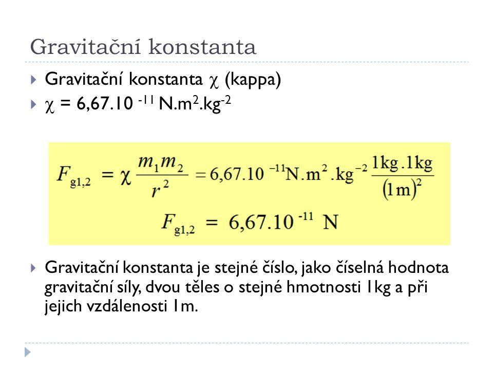 Gravitační konstanta  Gravitační konstanta  (kappa)   = 6,67.10 -11 N.m 2.kg -2  Gravitační konstanta je stejné číslo, jako číselná hodnota gra