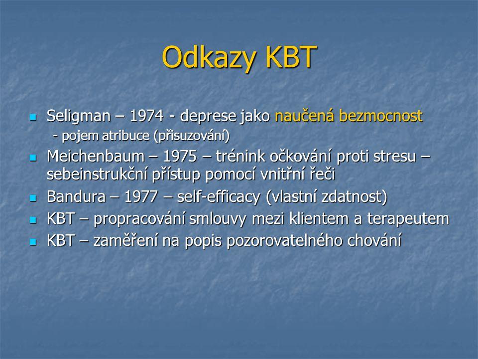 Odkazy KBT Seligman – 1974 - deprese jako naučená bezmocnost Seligman – 1974 - deprese jako naučená bezmocnost - pojem atribuce (přisuzování) Meichenb