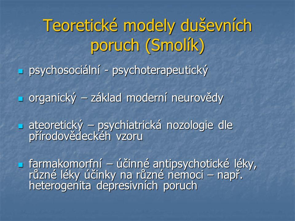 Teoretické modely duševních poruch (Smolík) psychosociální - psychoterapeutický psychosociální - psychoterapeutický organický – základ moderní neurově