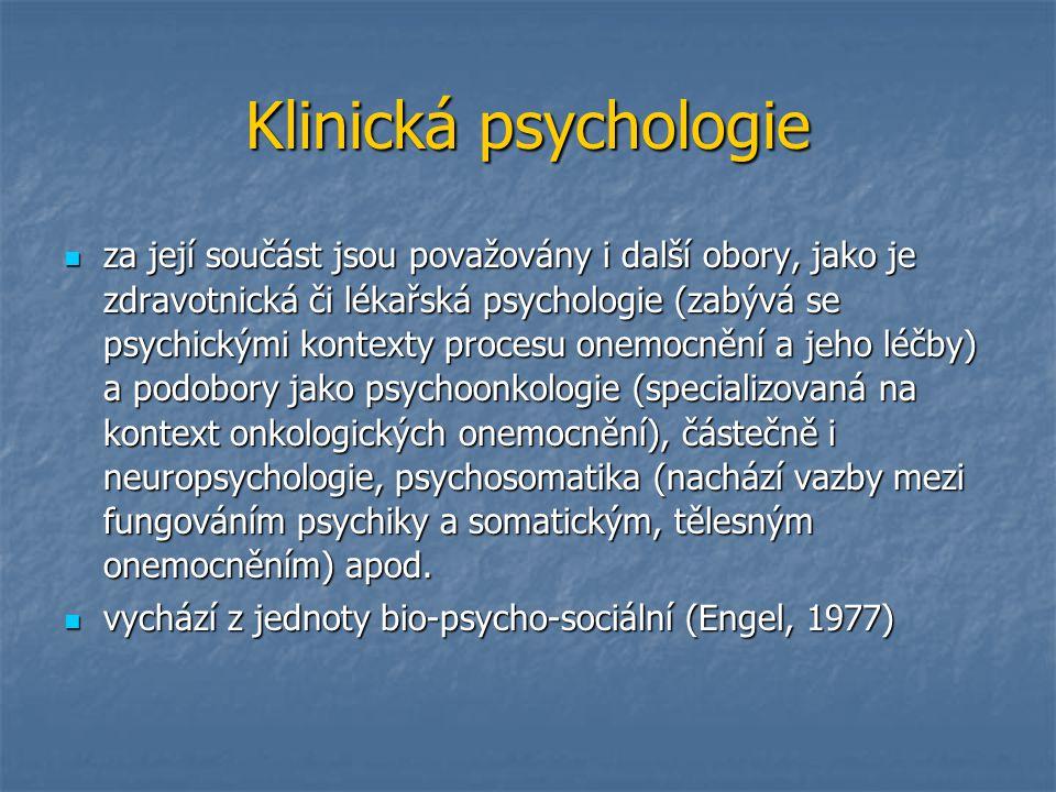 Klinická psychologie za její součást jsou považovány i další obory, jako je zdravotnická či lékařská psychologie (zabývá se psychickými kontexty proce