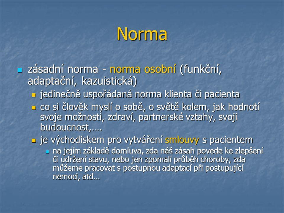 Norma zásadní norma - norma osobní (funkční, adaptační, kazuistická) zásadní norma - norma osobní (funkční, adaptační, kazuistická) jedinečně uspořáda