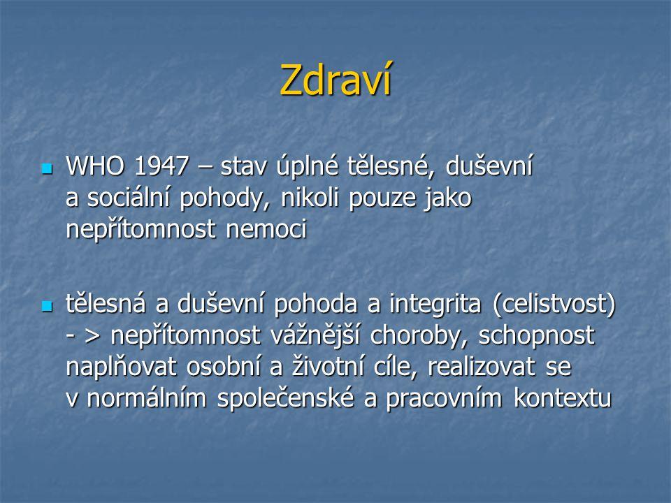 Zdraví WHO 1947 – stav úplné tělesné, duševní a sociální pohody, nikoli pouze jako nepřítomnost nemoci WHO 1947 – stav úplné tělesné, duševní a sociál
