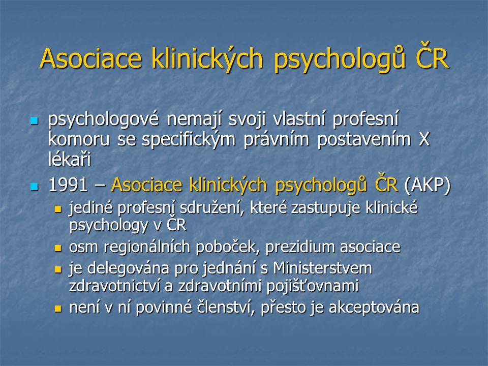 Asociace klinických psychologů ČR psychologové nemají svoji vlastní profesní komoru se specifickým právním postavením X lékaři psychologové nemají svo