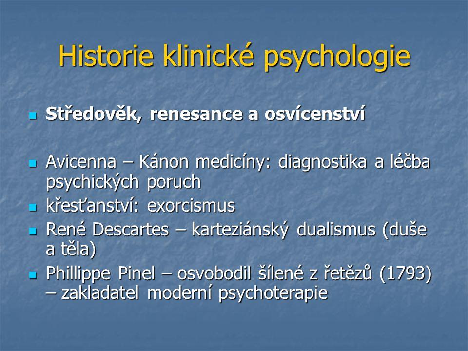 Historie klinické psychologie Středověk, renesance a osvícenství Středověk, renesance a osvícenství Avicenna – Kánon medicíny: diagnostika a léčba psy