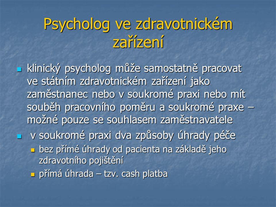Psycholog ve zdravotnickém zařízení klinický psycholog může samostatně pracovat ve státním zdravotnickém zařízení jako zaměstnanec nebo v soukromé pra