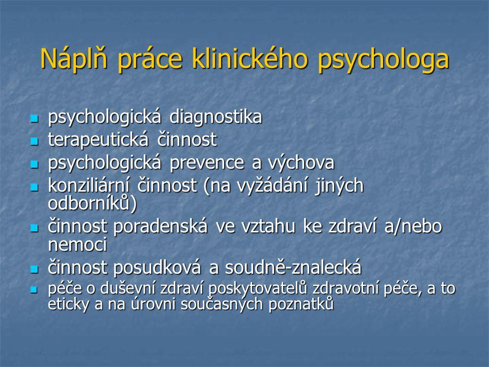 Náplň práce klinického psychologa psychologická diagnostika psychologická diagnostika terapeutická činnost terapeutická činnost psychologická prevence
