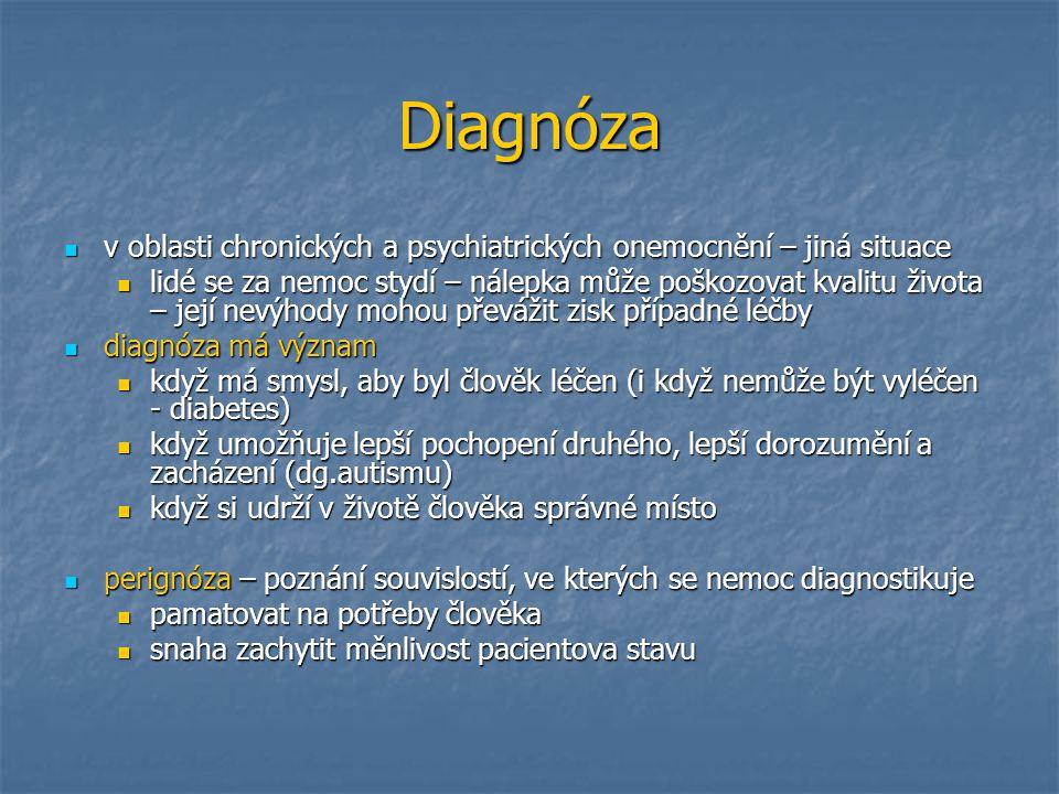 Diagnóza v oblasti chronických a psychiatrických onemocnění – jiná situace v oblasti chronických a psychiatrických onemocnění – jiná situace lidé se z
