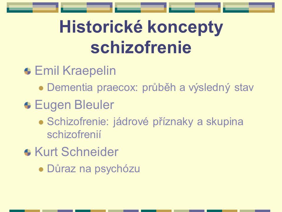 Historické koncepty schizofrenie Emil Kraepelin Dementia praecox: průběh a výsledný stav Eugen Bleuler Schizofrenie: jádrové příznaky a skupina schizofrenií Kurt Schneider Důraz na psychózu