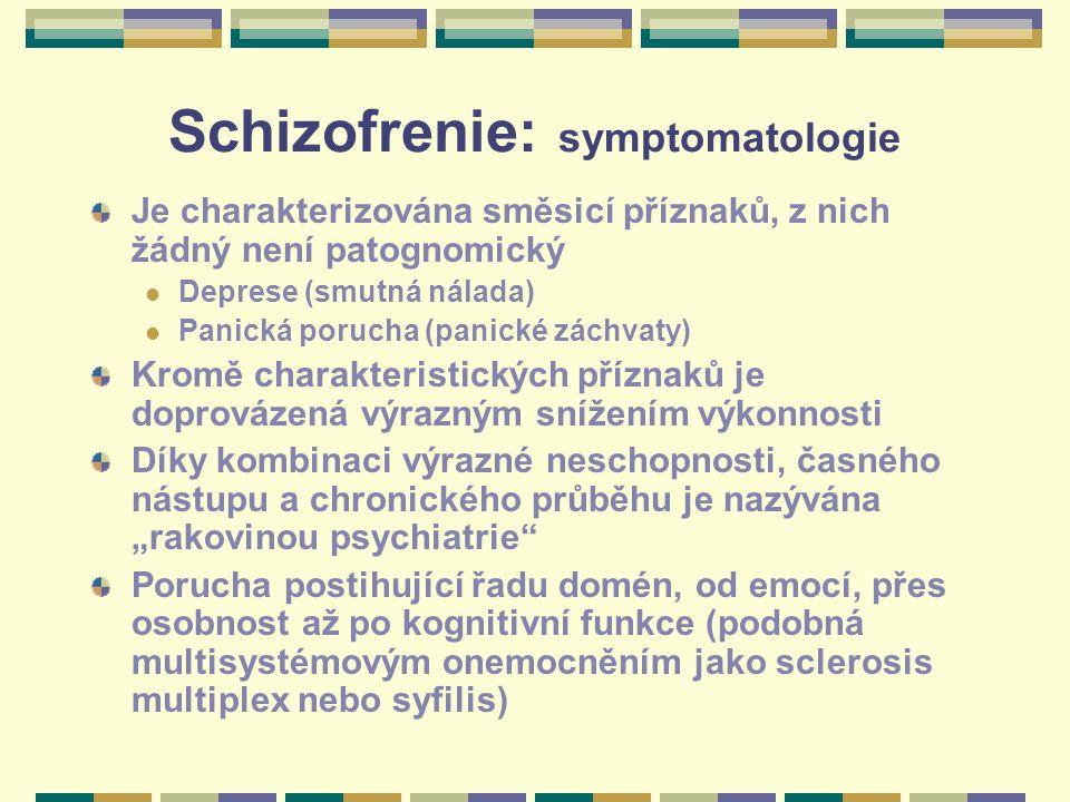 """Schizofrenie: symptomatologie Je charakterizována směsicí příznaků, z nich žádný není patognomický Deprese (smutná nálada) Panická porucha (panické záchvaty) Kromě charakteristických příznaků je doprovázená výrazným snížením výkonnosti Díky kombinaci výrazné neschopnosti, časného nástupu a chronického průběhu je nazývána """"rakovinou psychiatrie Porucha postihující řadu domén, od emocí, přes osobnost až po kognitivní funkce (podobná multisystémovým onemocněním jako sclerosis multiplex nebo syfilis)"""