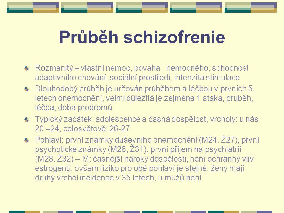 Průběh schizofrenie Rozmanitý – vlastní nemoc, povaha nemocného, schopnost adaptivního chování, sociální prostředí, intenzita stimulace Dlouhodobý průběh je určován průběhem a léčbou v prvních 5 letech onemocnění, velmi důležitá je zejména 1 ataka, průběh, léčba, doba prodromů Typický začátek: adolescence a časná dospělost, vrcholy: u nás 20 –24, celosvětově: 26-27 Pohlaví: první známky duševního onemocnění (M24, Ž27), první psychotické známky (M26, Ž31), první příjem na psychiatrii (M28, Ž32) – M: časnější nároky dospělosti, není ochranný vliv estrogenů, ovšem riziko pro obě pohlaví je stejné, ženy mají druhý vrchol incidence v 35 letech, u mužů není