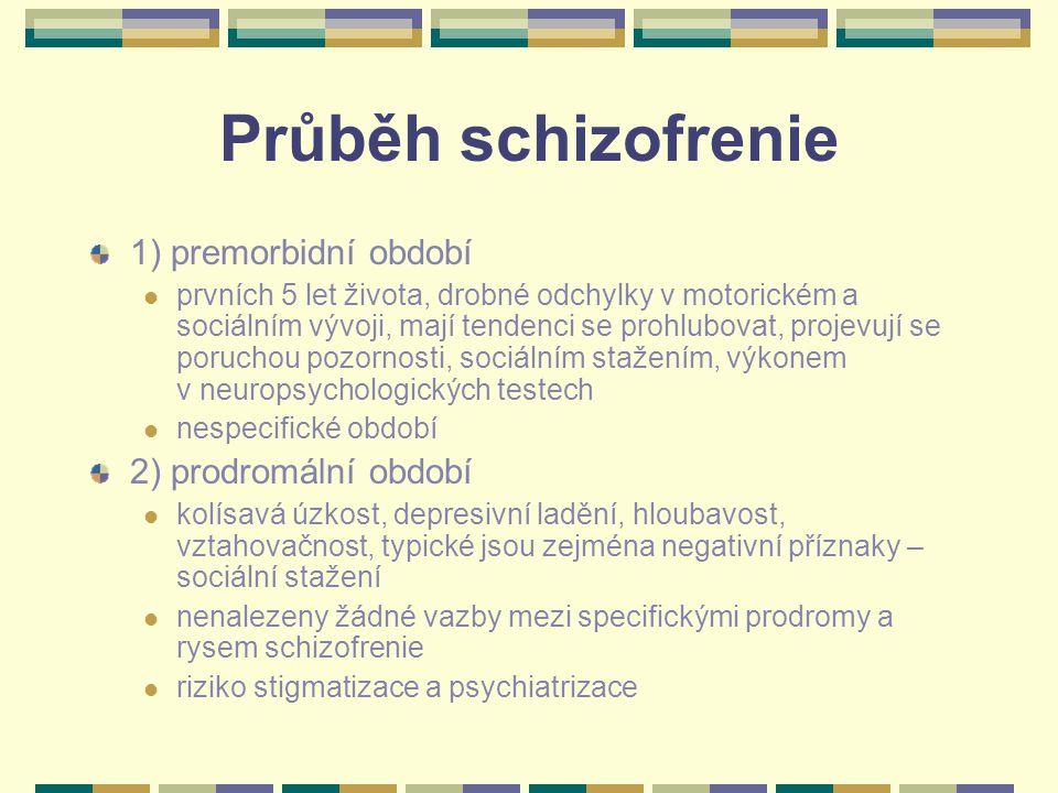 Průběh schizofrenie 1) premorbidní období prvních 5 let života, drobné odchylky v motorickém a sociálním vývoji, mají tendenci se prohlubovat, projevují se poruchou pozornosti, sociálním stažením, výkonem v neuropsychologických testech nespecifické období 2) prodromální období kolísavá úzkost, depresivní ladění, hloubavost, vztahovačnost, typické jsou zejména negativní příznaky – sociální stažení nenalezeny žádné vazby mezi specifickými prodromy a rysem schizofrenie riziko stigmatizace a psychiatrizace