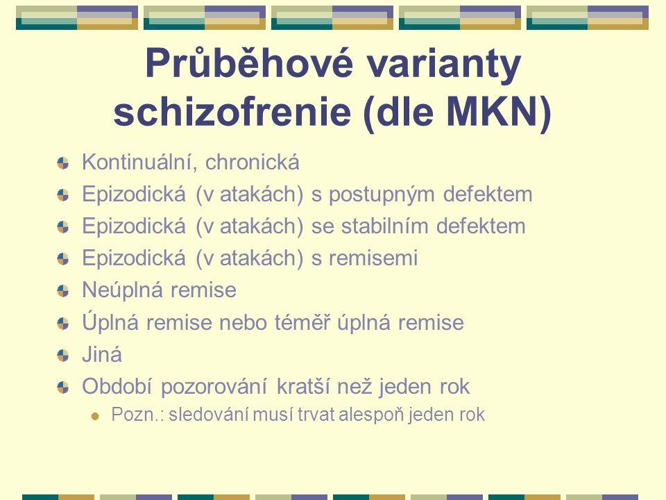 Průběhové varianty schizofrenie (dle MKN) Kontinuální, chronická Epizodická (v atakách) s postupným defektem Epizodická (v atakách) se stabilním defektem Epizodická (v atakách) s remisemi Neúplná remise Úplná remise nebo téměř úplná remise Jiná Období pozorování kratší než jeden rok Pozn.: sledování musí trvat alespoň jeden rok