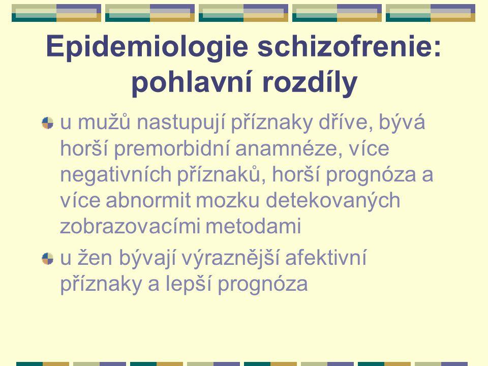 Epidemiologie schizofrenie: pohlavní rozdíly u mužů nastupují příznaky dříve, bývá horší premorbidní anamnéze, více negativních příznaků, horší prognóza a více abnormit mozku detekovaných zobrazovacími metodami u žen bývají výraznější afektivní příznaky a lepší prognóza