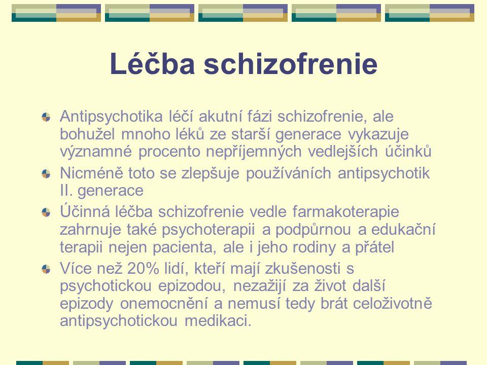 Léčba schizofrenie Antipsychotika léčí akutní fázi schizofrenie, ale bohužel mnoho léků ze starší generace vykazuje významné procento nepříjemných vedlejších účinků Nicméně toto se zlepšuje používáních antipsychotik II.