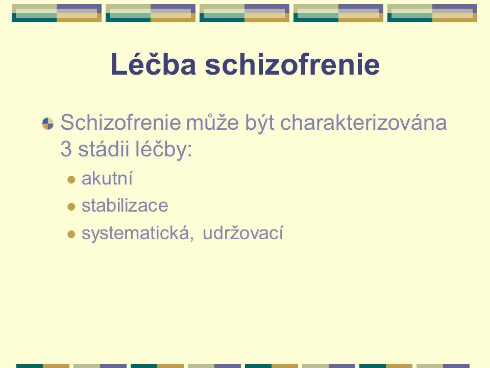 Léčba schizofrenie Schizofrenie může být charakterizována 3 stádii léčby: akutní stabilizace systematická, udržovací