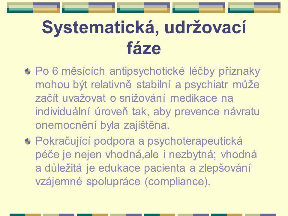 Systematická, udržovací fáze Po 6 měsících antipsychotické léčby příznaky mohou být relativně stabilní a psychiatr může začít uvažovat o snižování medikace na individuální úroveň tak, aby prevence návratu onemocnění byla zajištěna.