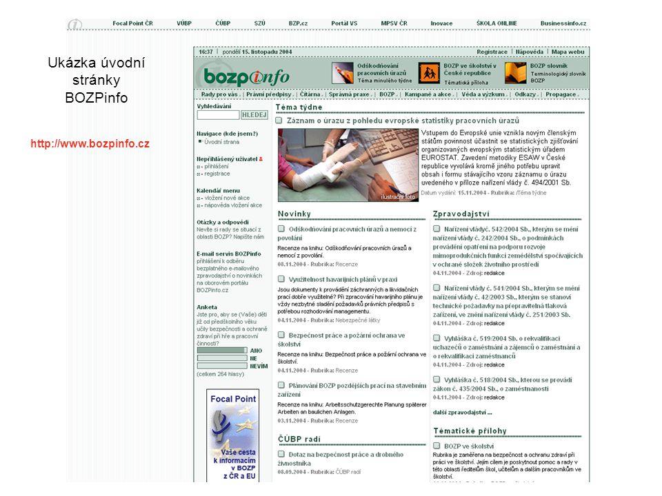 Ukázka úvodní stránky BOZPinfo http://www.bozpinfo.cz