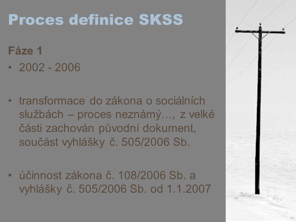 """Proces definice SKSS Fáze 2 2007 - 2008 """"8 diskusních setkání, jejichž cílem bylo zmapovat názorové proudy všech zainteresovaných aktérů k výkladu a naplňování standardů skupinové workshopy zástupců poskytovatelů, inspektorů a vzdělavatelů nad vyjasněním klíčových témat (vztah mezi ZOSS a zákonem o ochraně osobních údajů, rozdílnosti služeb a možnosti naplnit určitá kritéria, protože standardy jsou stavěny zejm."""