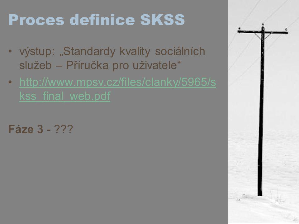 """Proces definice SKSS výstup: """"Standardy kvality sociálních služeb – Příručka pro uživatele http://www.mpsv.cz/files/clanky/5965/s kss_final_web.pdfhttp://www.mpsv.cz/files/clanky/5965/s kss_final_web.pdf Fáze 3 -"""