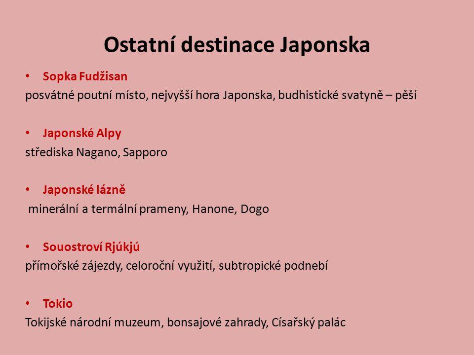Ostatní destinace Japonska Sopka Fudžisan posvátné poutní místo, nejvyšší hora Japonska, budhistické svatyně – pěší Japonské Alpy střediska Nagano, Sa