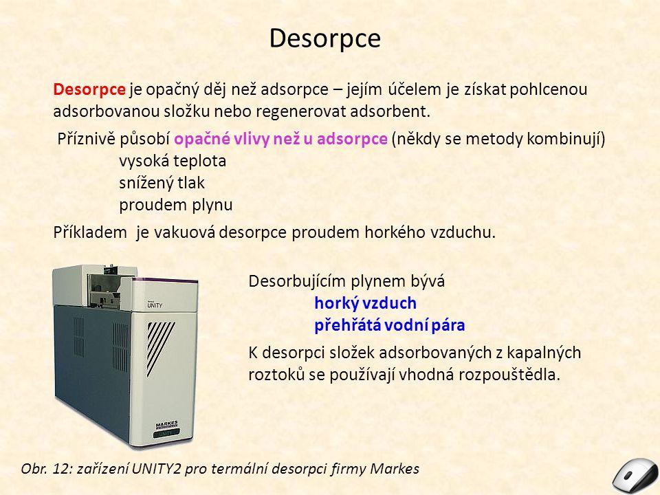 Desorpce Desorpce je opačný děj než adsorpce – jejím účelem je získat pohlcenou adsorbovanou složku nebo regenerovat adsorbent.