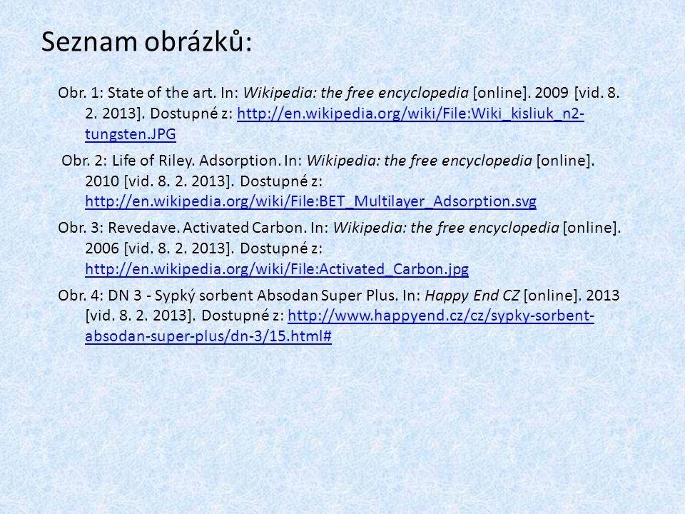 Seznam obrázků: Obr.1: State of the art. In: Wikipedia: the free encyclopedia [online].