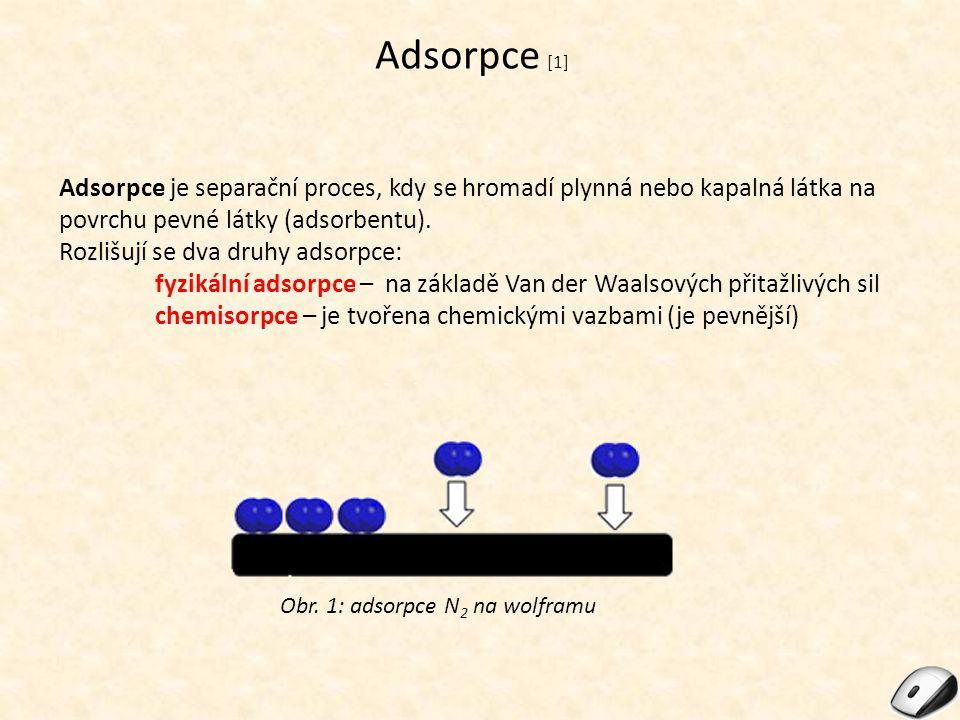 Adsorpce [1] Adsorpce je separační proces, kdy se hromadí plynná nebo kapalná látka na povrchu pevné látky (adsorbentu).