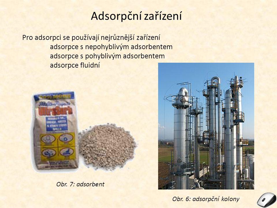 Adsorpční zařízení Pro adsorpci se používají nejrůznější zařízení adsorpce s nepohyblivým adsorbentem adsorpce s pohyblivým adsorbentem adsorpce fluidní Obr.