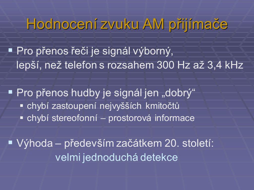 """Hodnocení zvuku AM přijímače  Pro přenos řeči je signál výborný, lepší, než telefon s rozsahem 300 Hz až 3,4 kHz  Pro přenos hudby je signál jen """"dobrý  chybí zastoupení nejvyšších kmitočtů  chybí stereofonní – prostorová informace  Výhoda – především začátkem 20."""