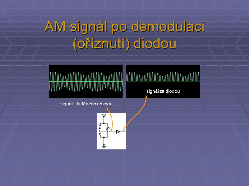 signál z laděného obvodu signál za diodou AM signál po demodulaci (oříznutí) diodou