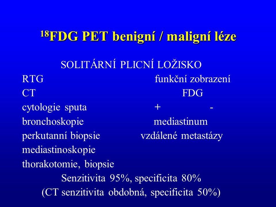 18 FDG PET benigní / maligní léze SOLITÁRNÍ PLICNÍ LOŽISKO RTGfunkční zobrazení CTFDG cytologie sputa+- bronchoskopie mediastinum perkutanní biopsie v