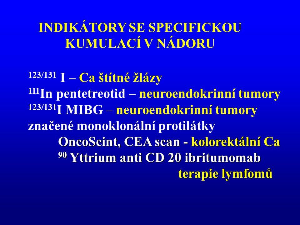 INDIKÁTORY SE SPECIFICKOU KUMULACÍ V NÁDORU 123/131 I – Ca štítné žlázy 111 In pentetreotid – neuroendokrinní tumory 123/131 I MIBG – neuroendokrinní