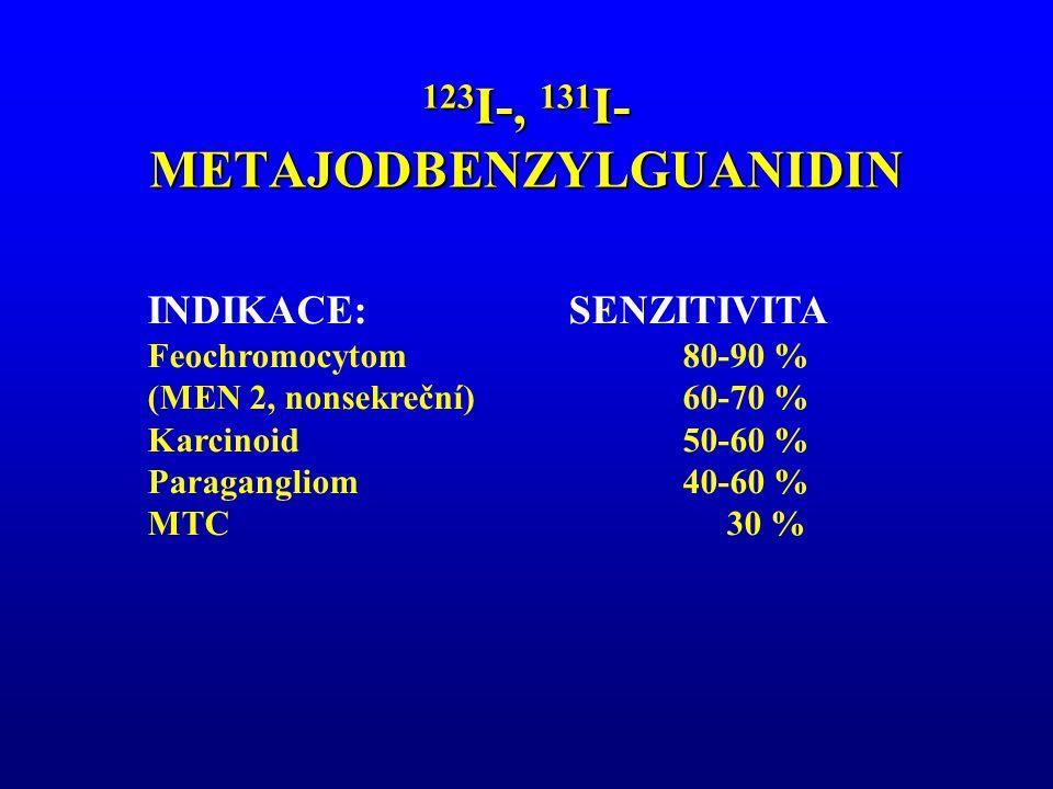 123 I-, 131 I- METAJODBENZYLGUANIDIN INDIKACE:SENZITIVITA Feochromocytom 80-90 % (MEN 2, nonsekreční) 60-70 % Karcinoid 50-60 % Paragangliom 40-60 % M