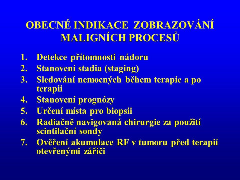 OBECNÉ INDIKACE ZOBRAZOVÁNÍ MALIGNÍCH PROCESŮ 1.Detekce přítomnosti nádoru 2.Stanovení stadia (staging) 3.Sledování nemocných během terapie a po terap