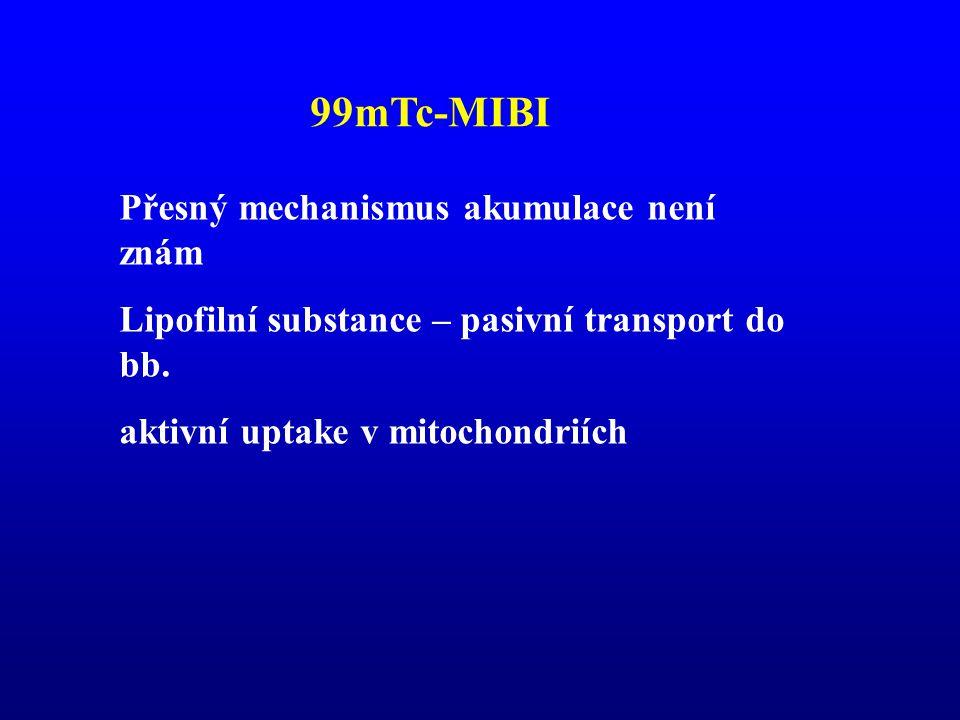 99mTc-MIBI Přesný mechanismus akumulace není znám Lipofilní substance – pasivní transport do bb. aktivní uptake v mitochondriích